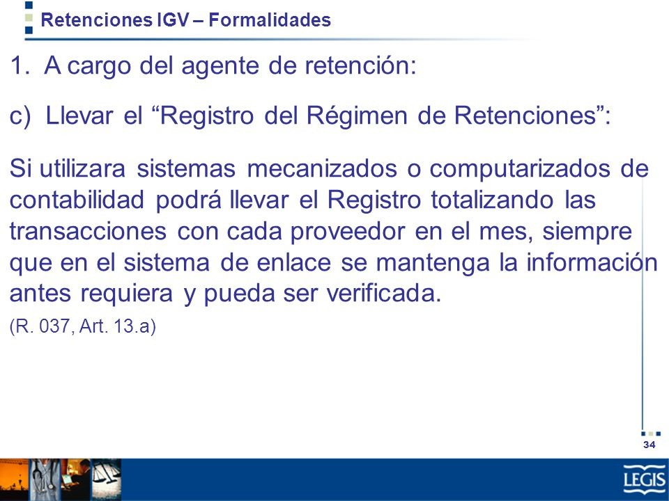 Retenciones IGV – Formalidades
