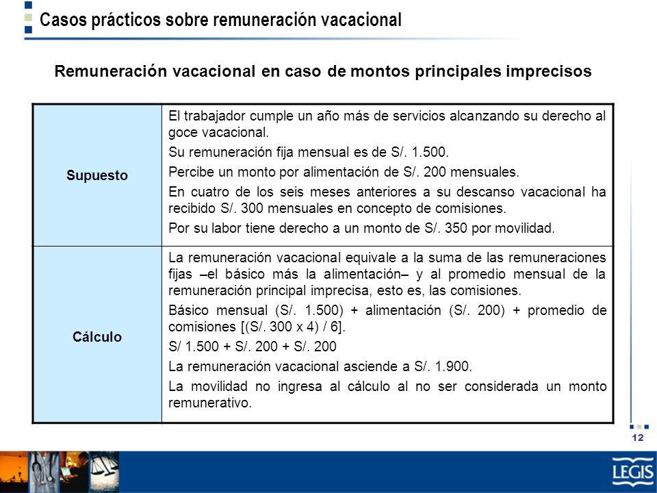 Remuneración vacacional en caso de montos principales imprecisos