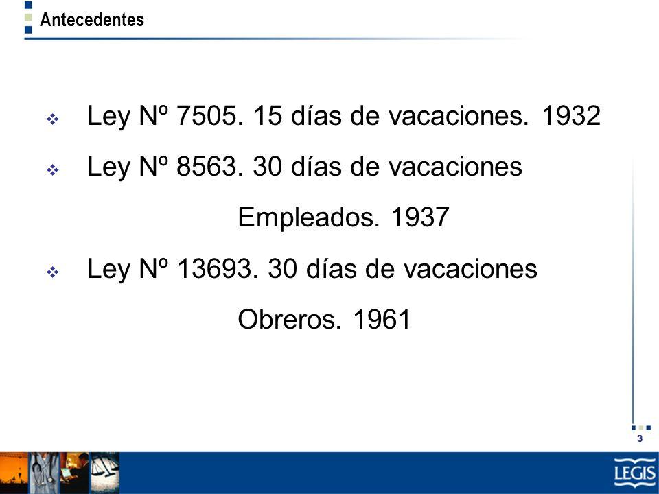 Ley Nº 7505. 15 días de vacaciones. 1932