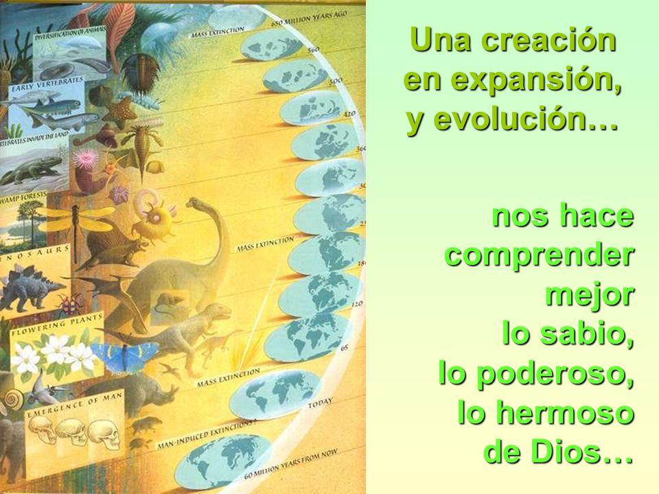 Una creación en expansión, y evolución… nos hace. comprender mejor. lo sabio, lo poderoso, lo hermoso.