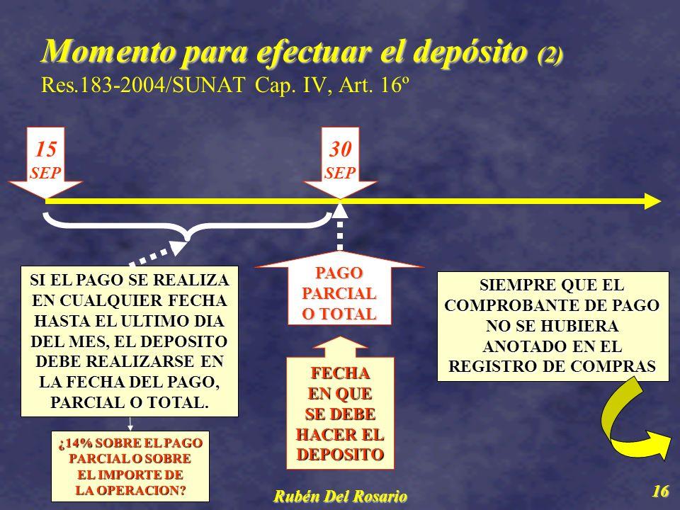 Momento para efectuar el depósito (2) Res. 183-2004/SUNAT Cap. IV, Art