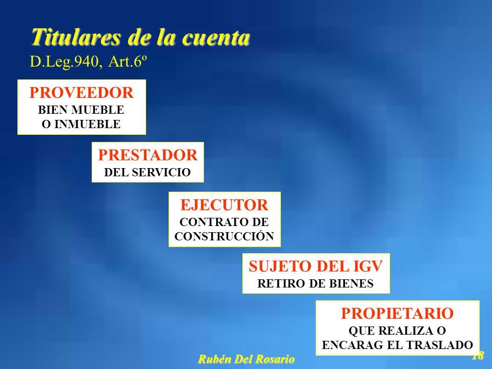 Titulares de la cuenta D.Leg.940, Art.6º