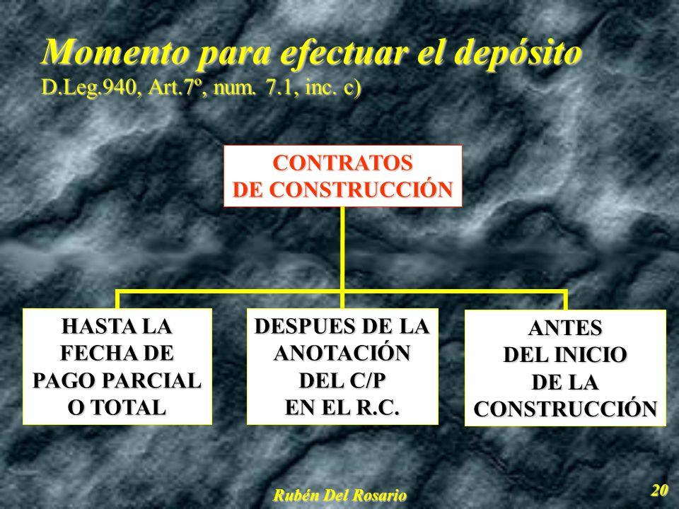 Momento para efectuar el depósito D.Leg.940, Art.7º, num. 7.1, inc. c)