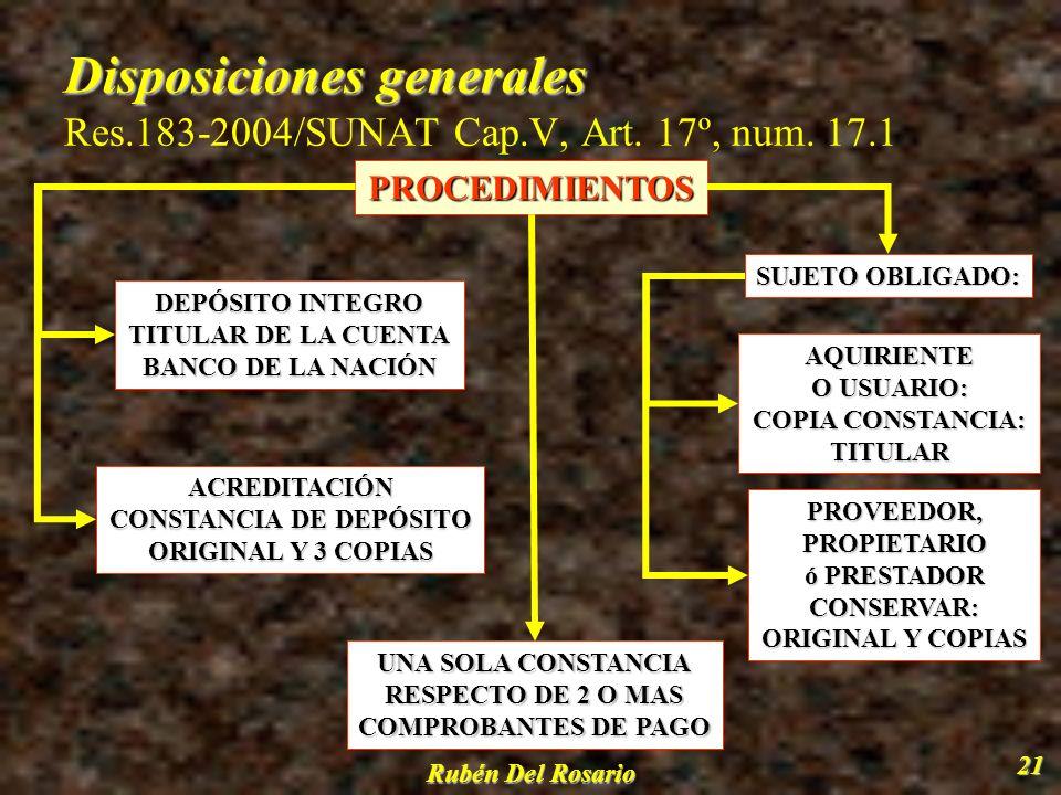 Disposiciones generales Res.183-2004/SUNAT Cap.V, Art. 17º, num. 17.1