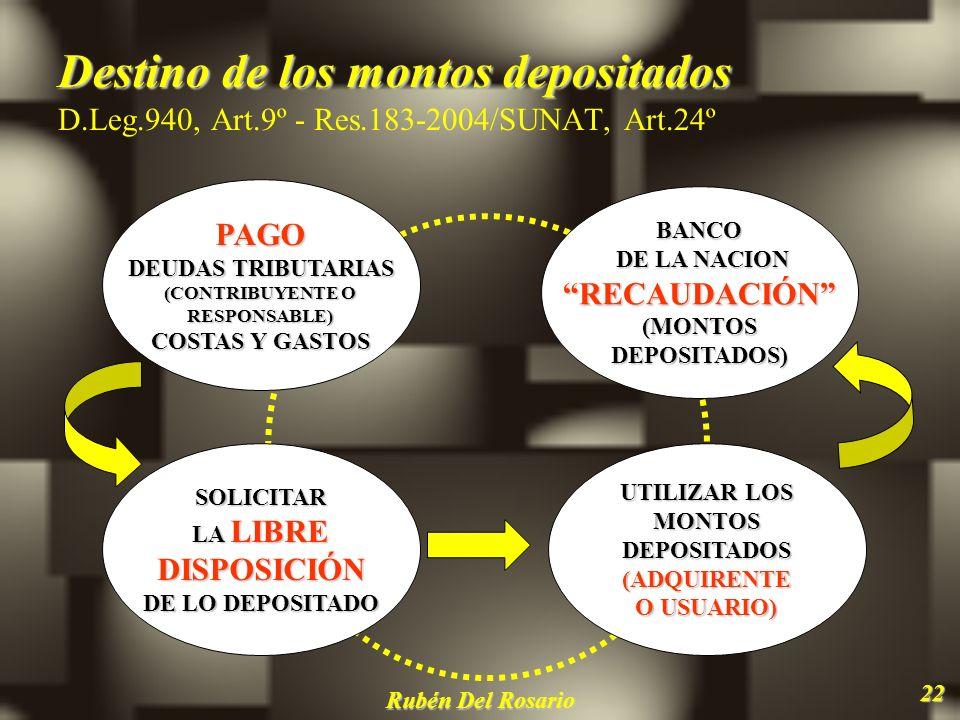 Destino de los montos depositados D. Leg. 940, Art. 9º - Res