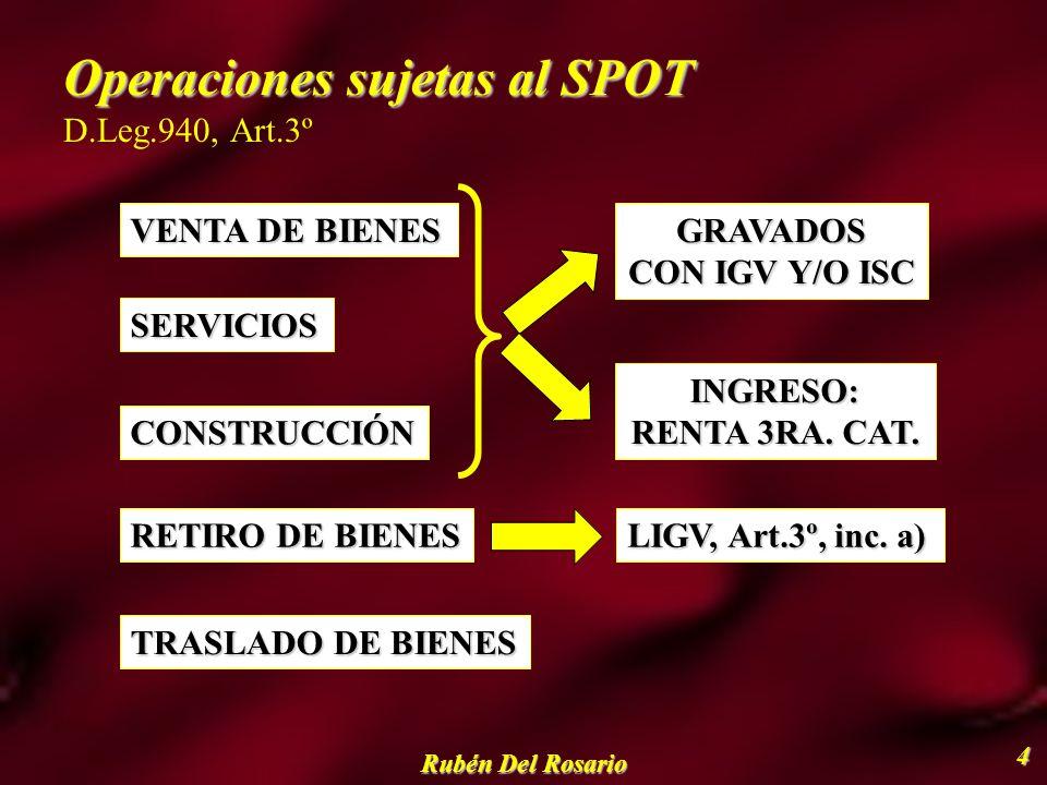 Operaciones sujetas al SPOT D.Leg.940, Art.3º