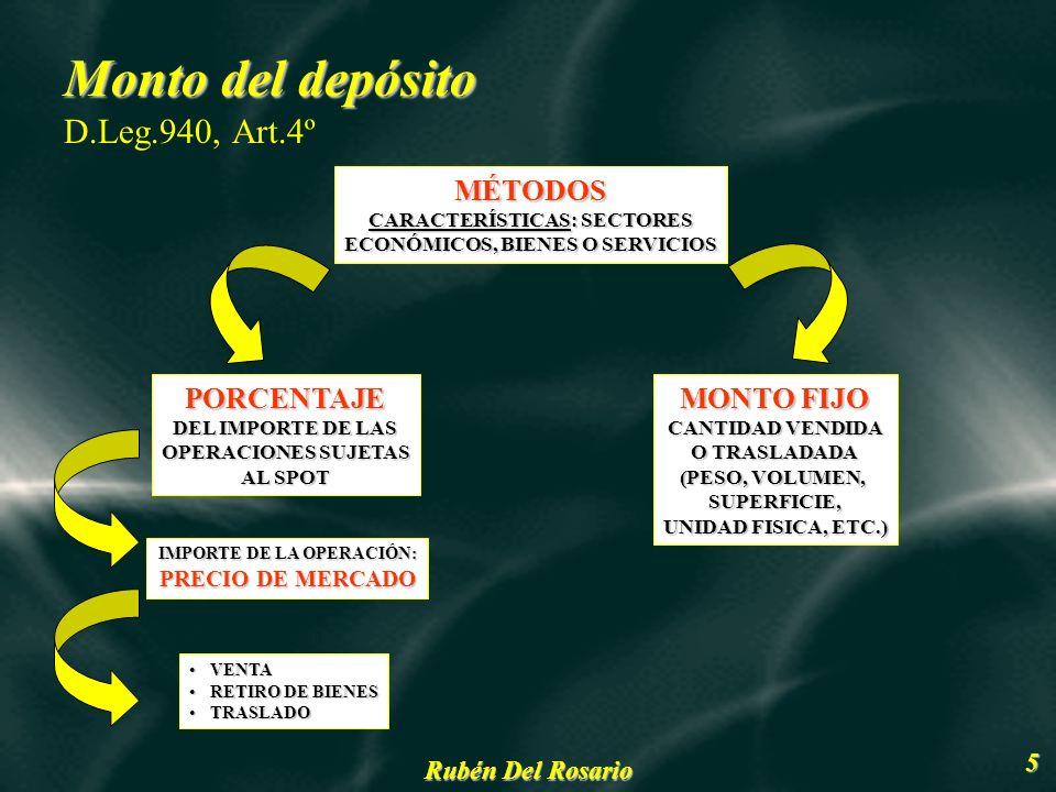 Monto del depósito D.Leg.940, Art.4º