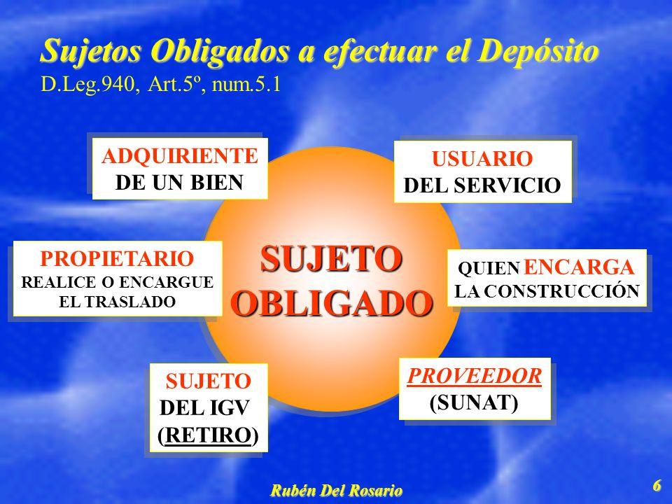 Sujetos Obligados a efectuar el Depósito D.Leg.940, Art.5º, num.5.1