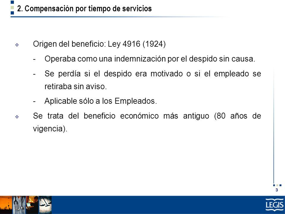 2. Compensación por tiempo de servicios
