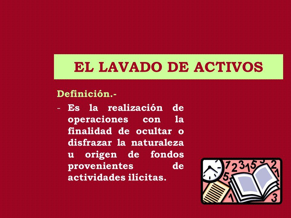 EL LAVADO DE ACTIVOS Definición.-
