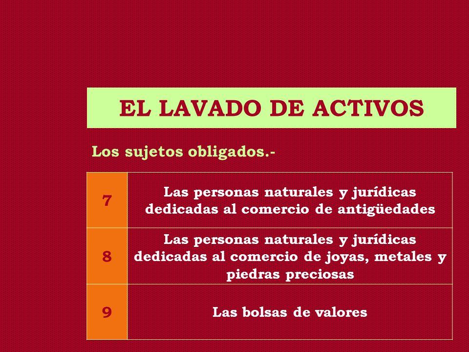 EL LAVADO DE ACTIVOS 7 8 9 Los sujetos obligados.-