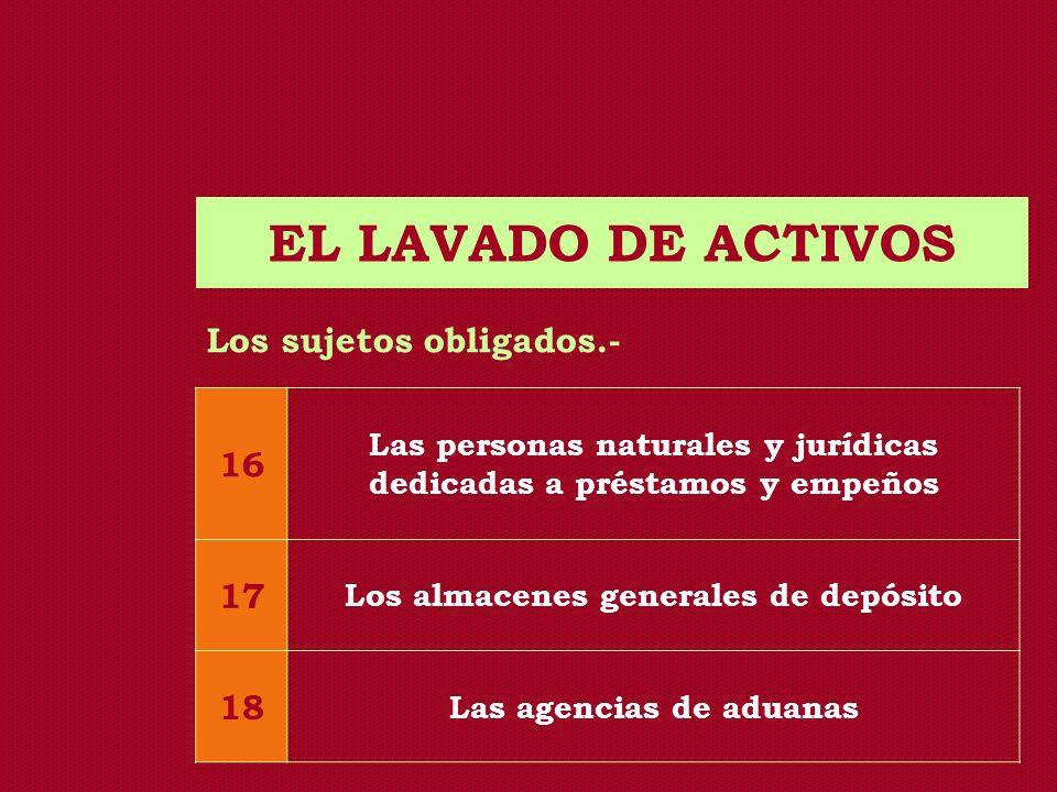 EL LAVADO DE ACTIVOS Los sujetos obligados.- 16 17 18