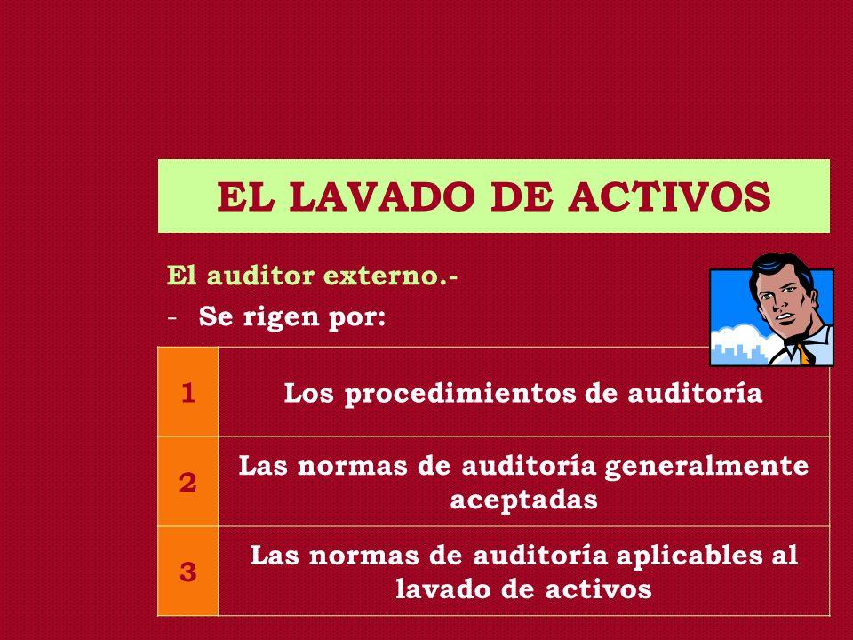 EL LAVADO DE ACTIVOS El auditor externo.- Se rigen por: 1
