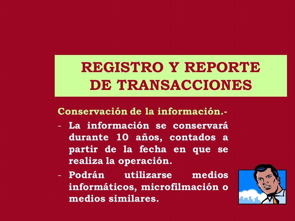 REGISTRO Y REPORTE DE TRANSACCIONES