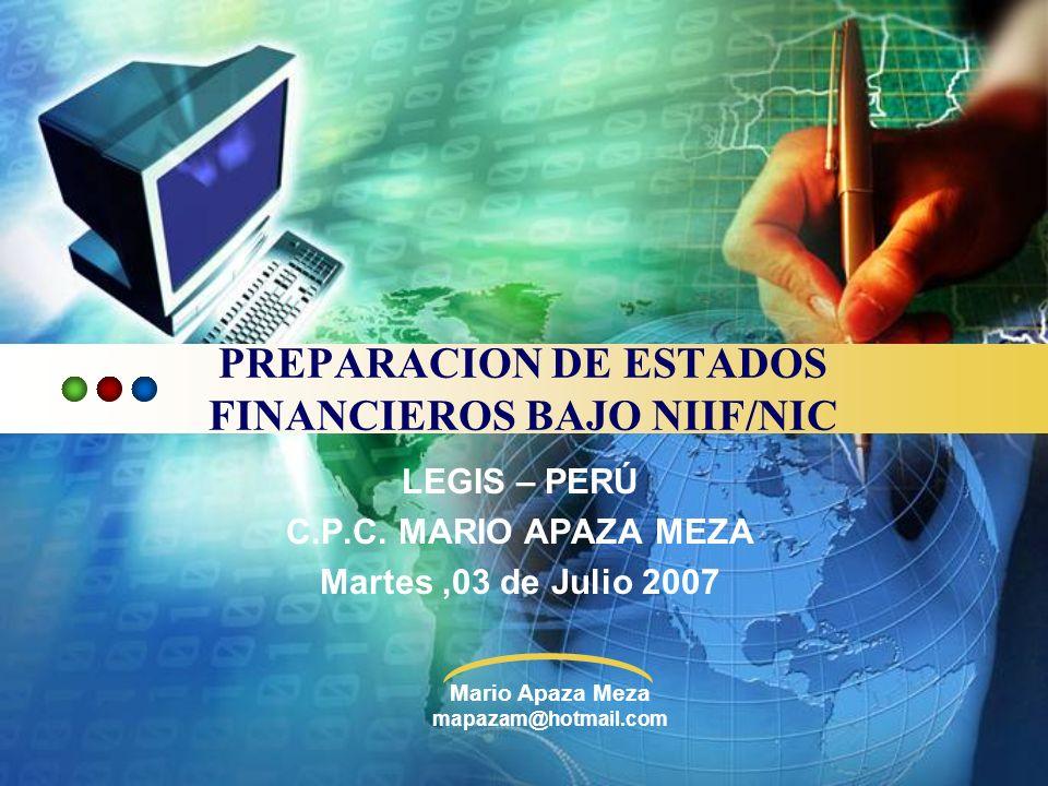 PREPARACION DE ESTADOS FINANCIEROS BAJO NIIF/NIC