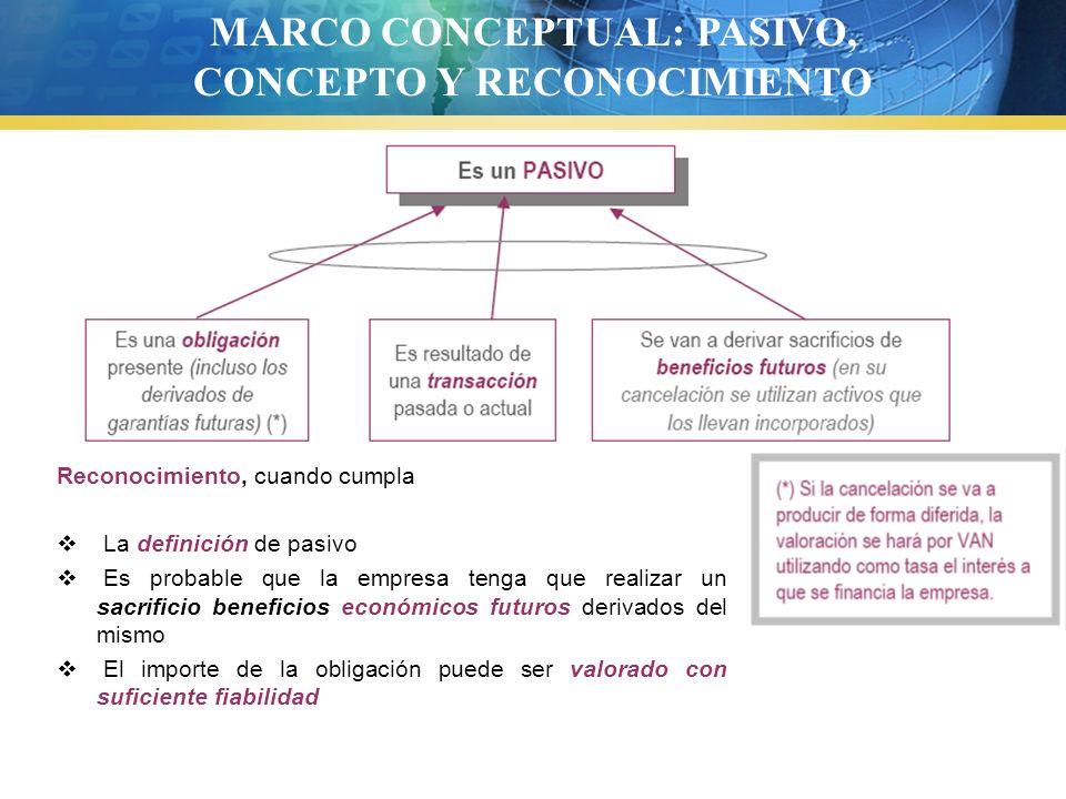 MARCO CONCEPTUAL: PASIVO, CONCEPTO Y RECONOCIMIENTO