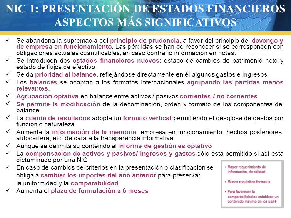 NIC 1: PRESENTACIÓN DE ESTADOS FINANCIEROS ASPECTOS MÁS SIGNIFICATIVOS