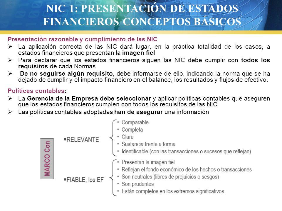 NIC 1: PRESENTACIÓN DE ESTADOS FINANCIEROS CONCEPTOS BÁSICOS