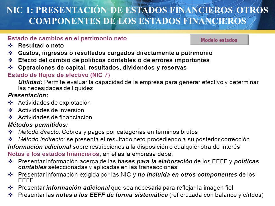 NIC 1: PRESENTACIÓN DE ESTADOS FINANCIEROS OTROS COMPONENTES DE LOS ESTADOS FINANCIEROS