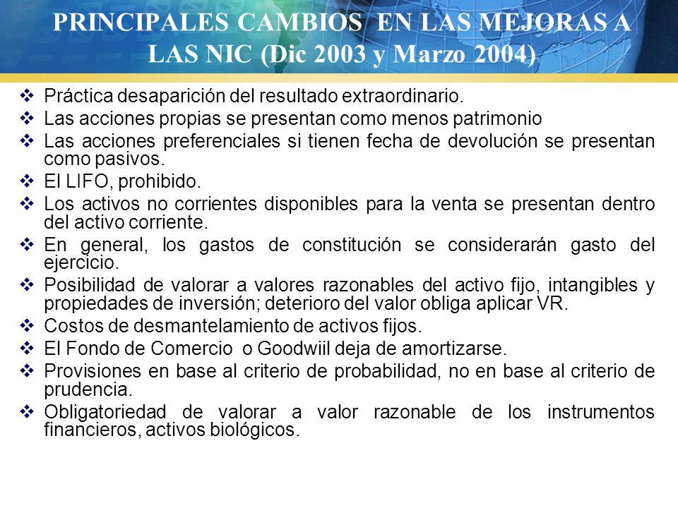 PRINCIPALES CAMBIOS EN LAS MEJORAS A LAS NIC (Dic 2003 y Marzo 2004)