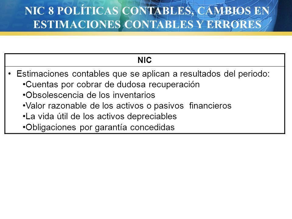 NIC 8 POLÍTICAS CONTABLES, CAMBIOS EN ESTIMACIONES CONTABLES Y ERRORES
