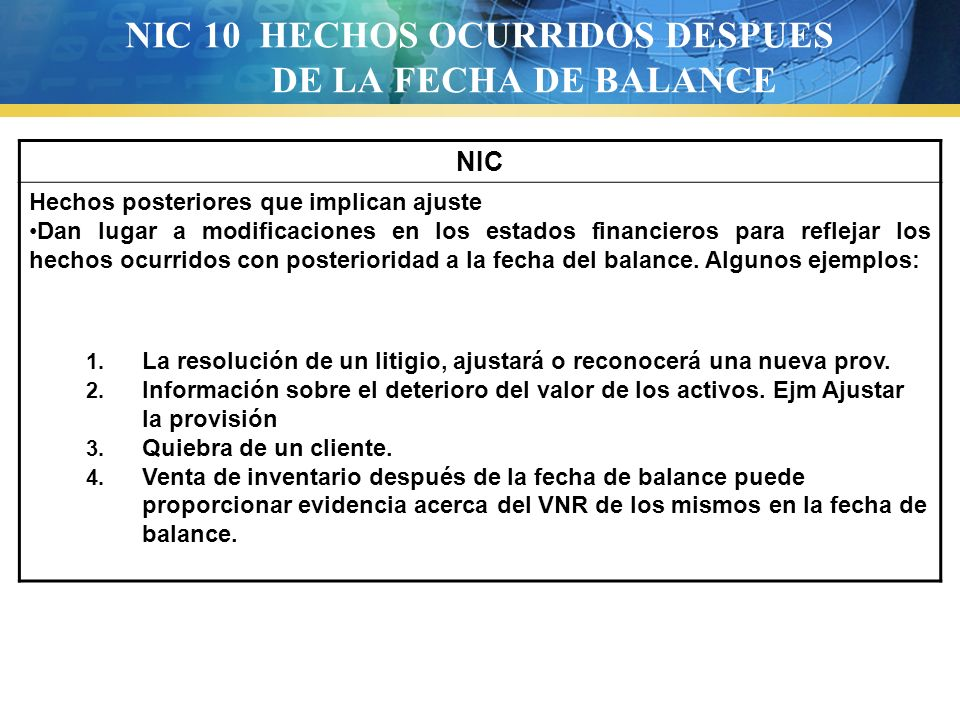 NIC 10 HECHOS OCURRIDOS DESPUES DE LA FECHA DE BALANCE