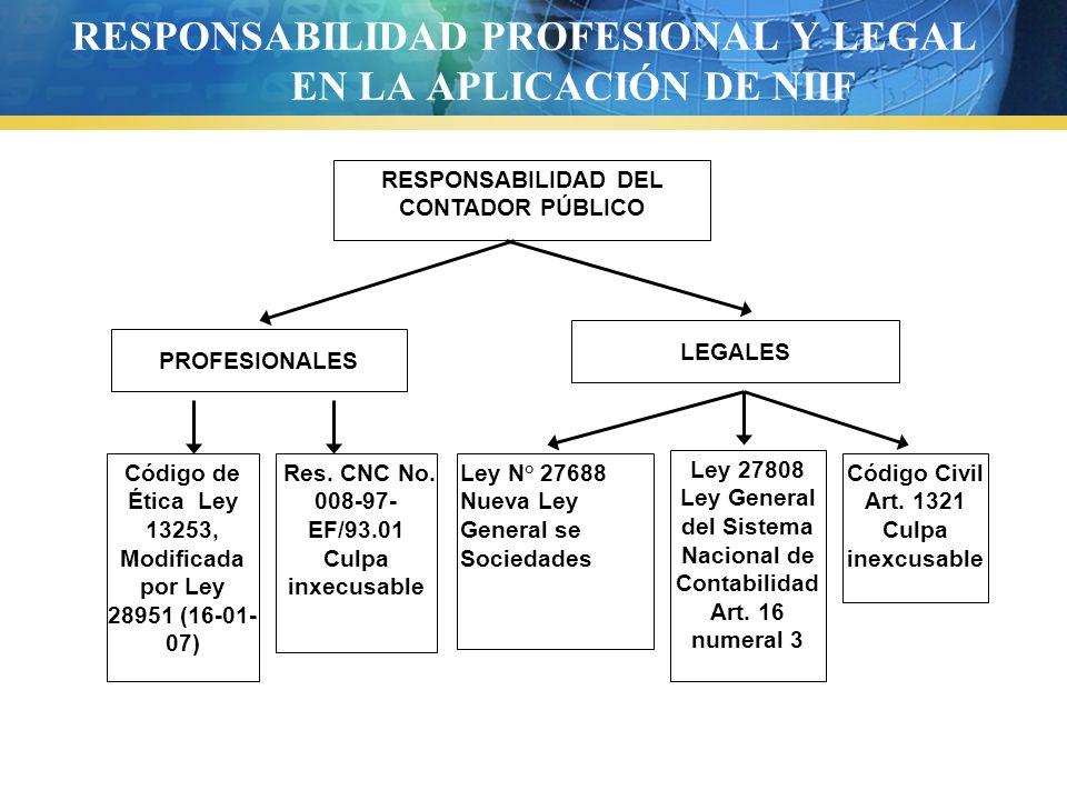 RESPONSABILIDAD PROFESIONAL Y LEGAL EN LA APLICACIÓN DE NIIF