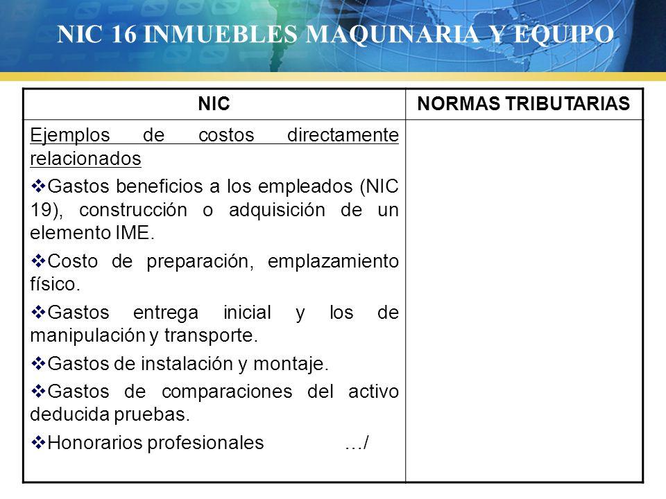 NIC 16 INMUEBLES MAQUINARIA Y EQUIPO