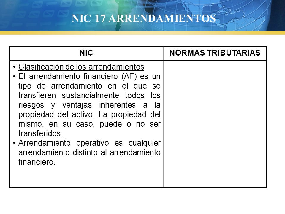 NIC 17 ARRENDAMIENTOS NIC NORMAS TRIBUTARIAS