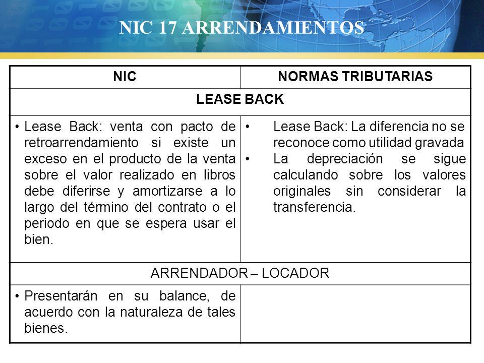 NIC 17 ARRENDAMIENTOS NIC NORMAS TRIBUTARIAS LEASE BACK