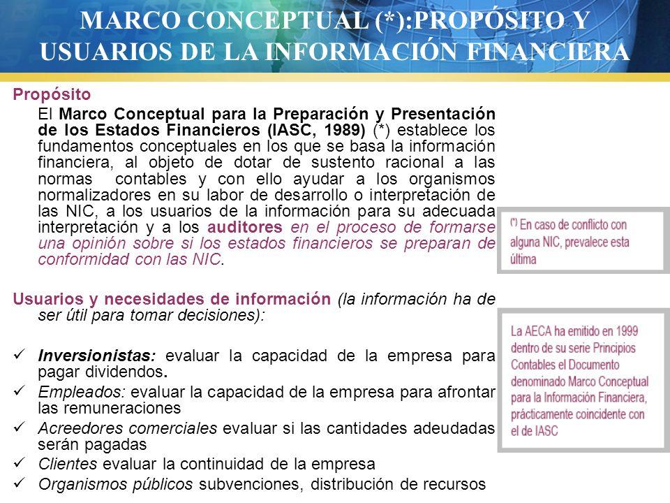 MARCO CONCEPTUAL (*):PROPÓSITO Y USUARIOS DE LA INFORMACIÓN FINANCIERA