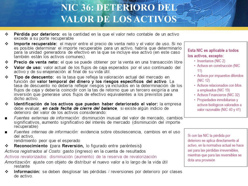 NIC 36: DETERIORO DEL VALOR DE LOS ACTIVOS