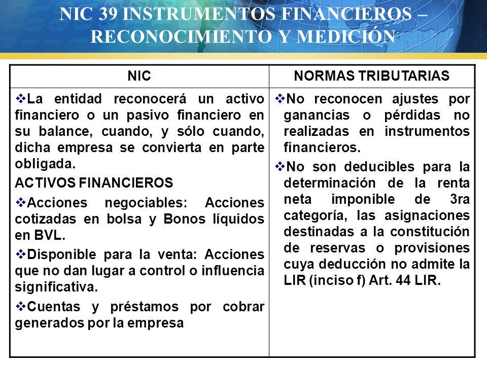 NIC 39 INSTRUMENTOS FINANCIEROS – RECONOCIMIENTO Y MEDICIÓN
