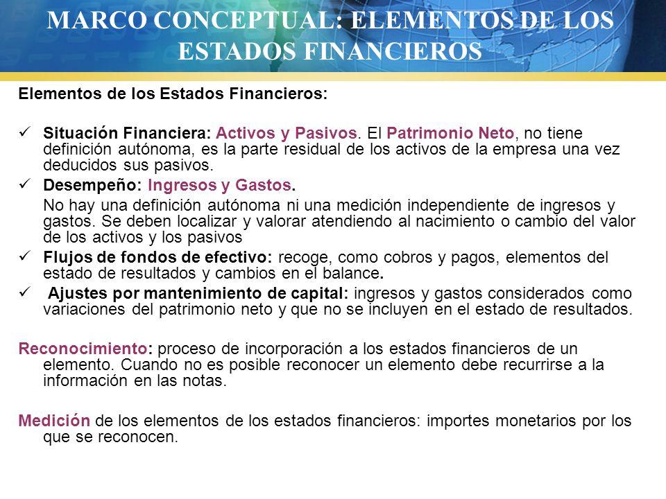 MARCO CONCEPTUAL: ELEMENTOS DE LOS