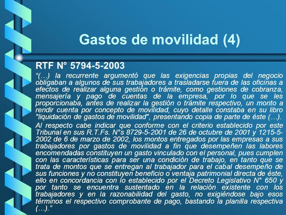 Gastos de movilidad (4) RTF N° 5794-5-2003
