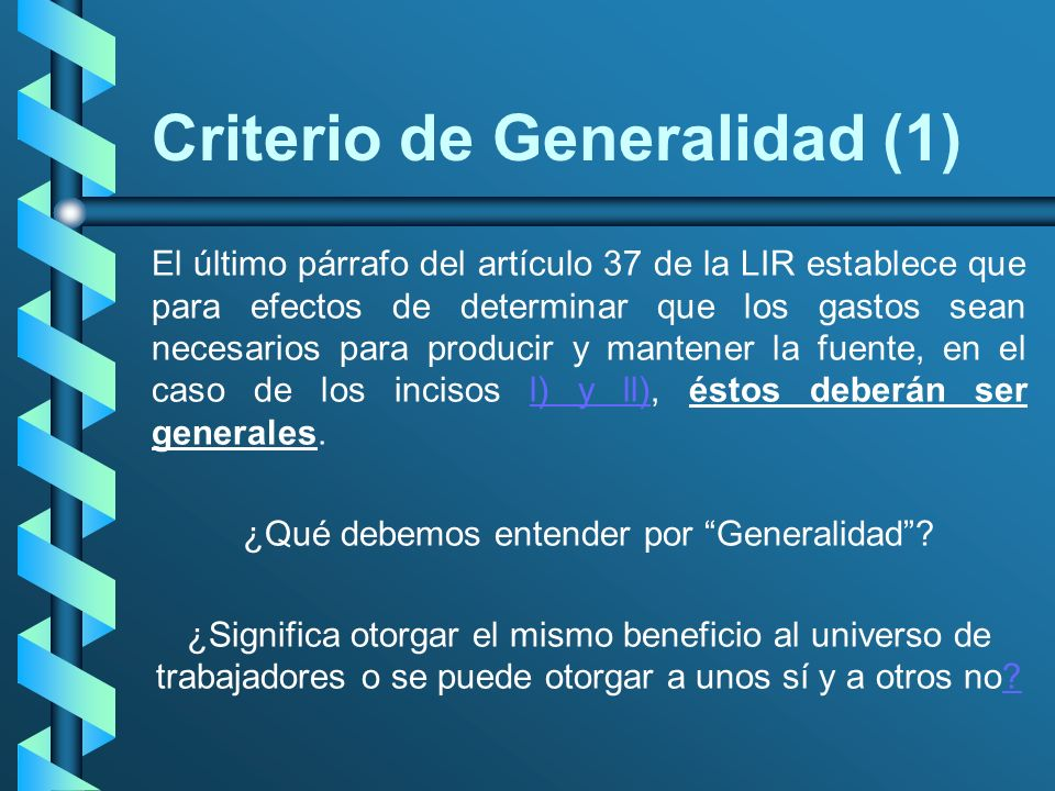 Criterio de Generalidad (1)