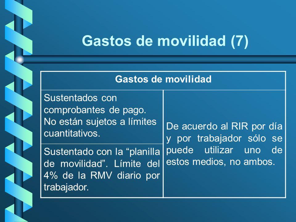 Gastos de movilidad (7) Gastos de movilidad