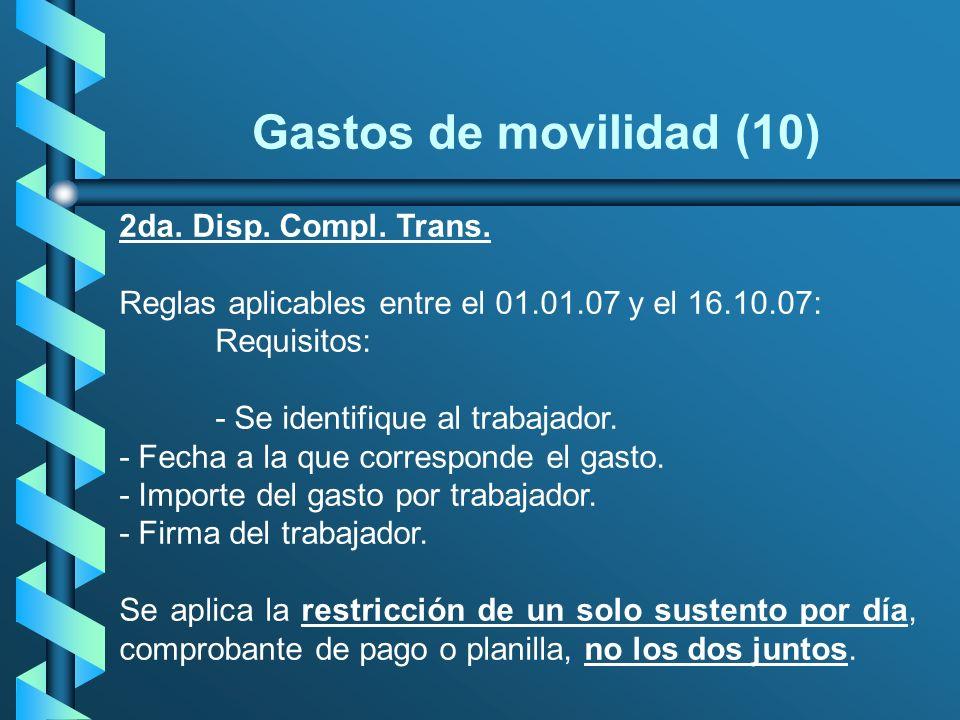 Gastos de movilidad (10) 2da. Disp. Compl. Trans.