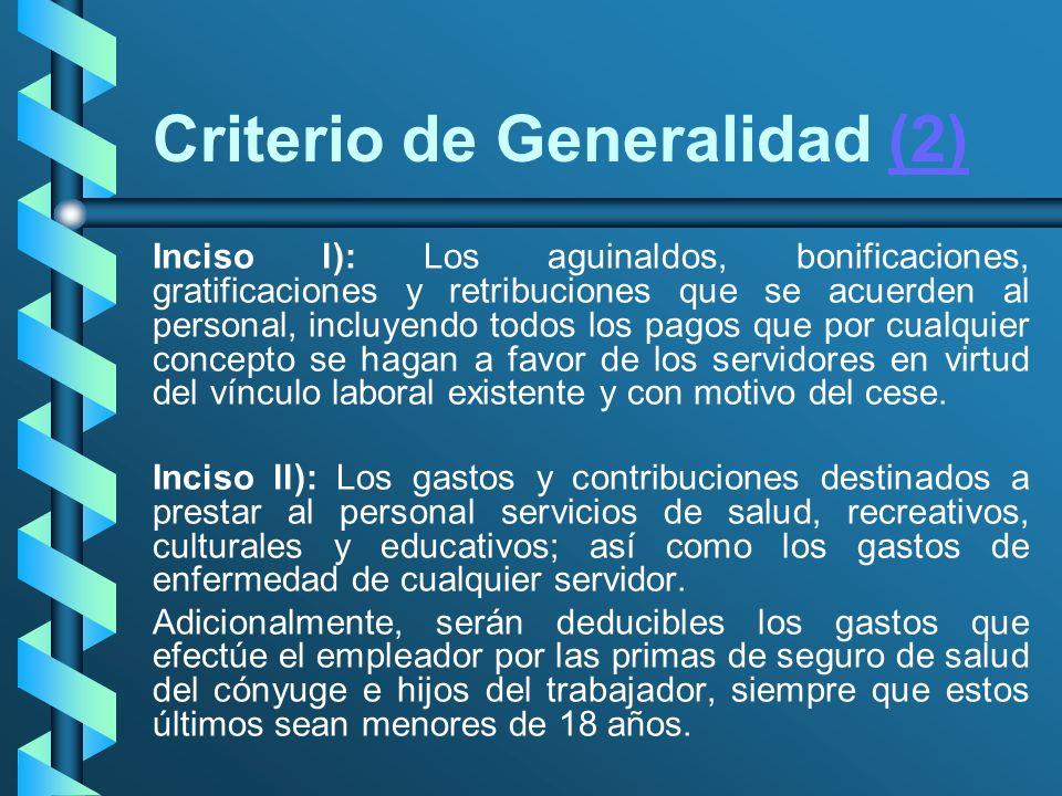 Criterio de Generalidad (2)