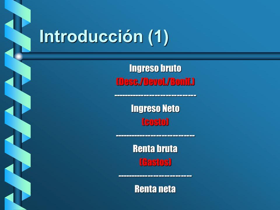 Introducción (1) Ingreso bruto (Desc./Devol./Bonif.)