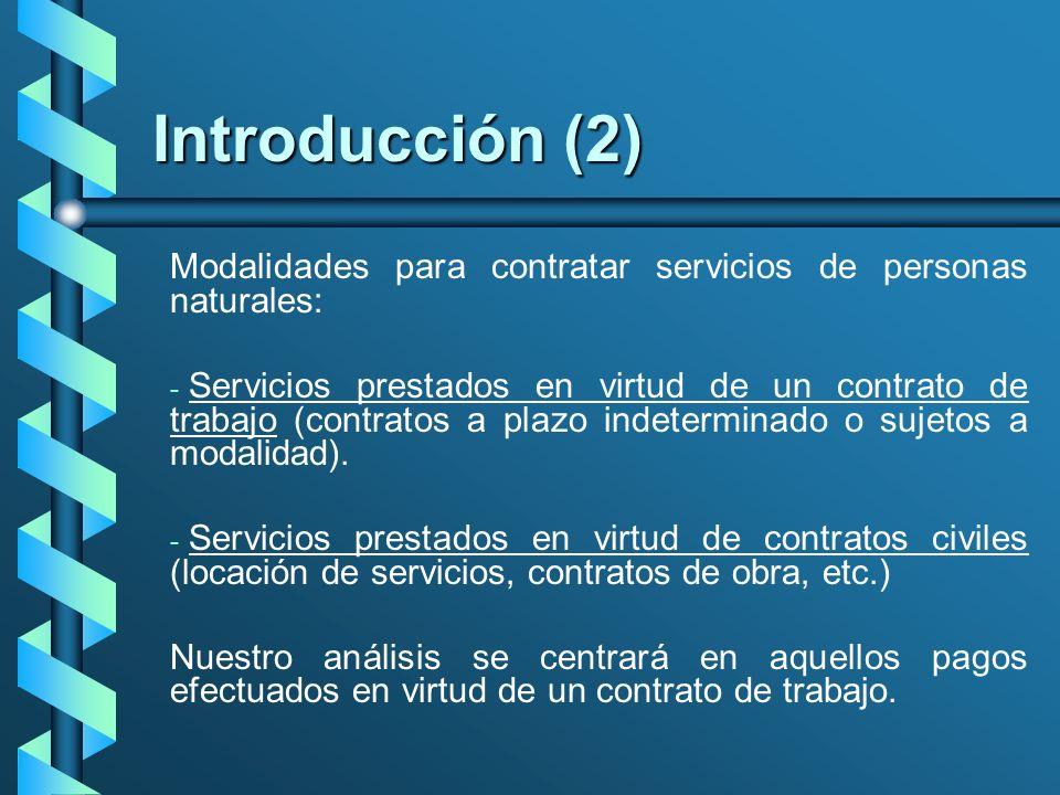 Introducción (2) Modalidades para contratar servicios de personas naturales: