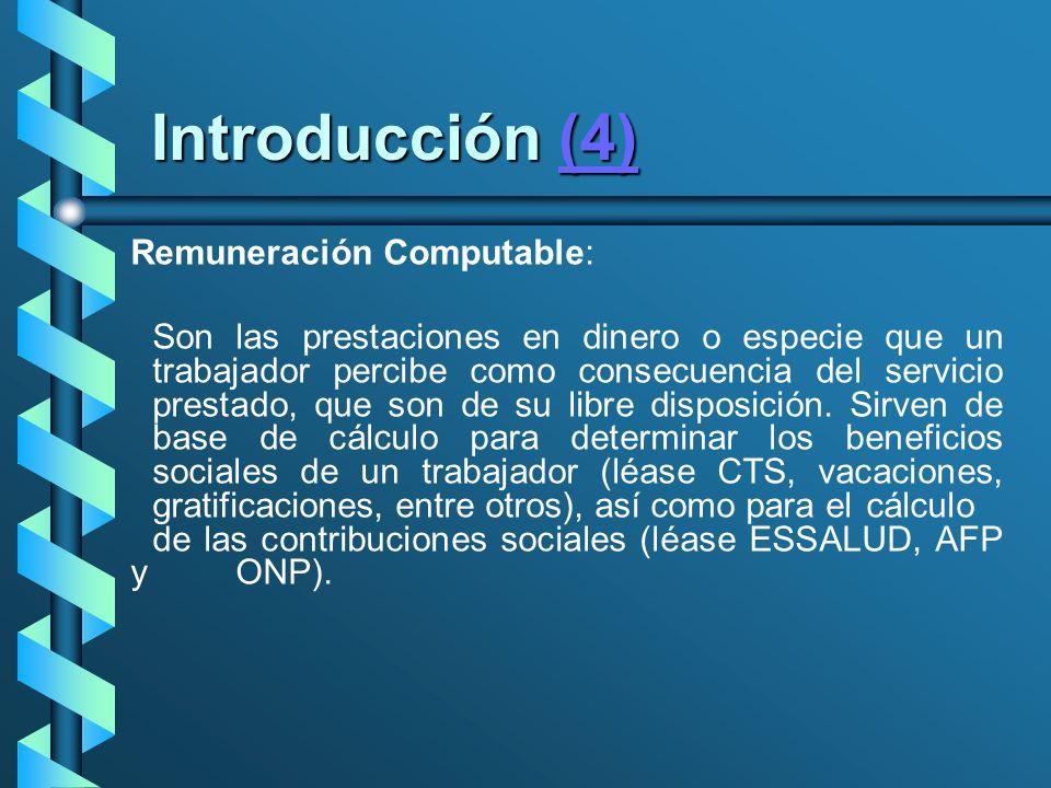 Introducción (4) Remuneración Computable: