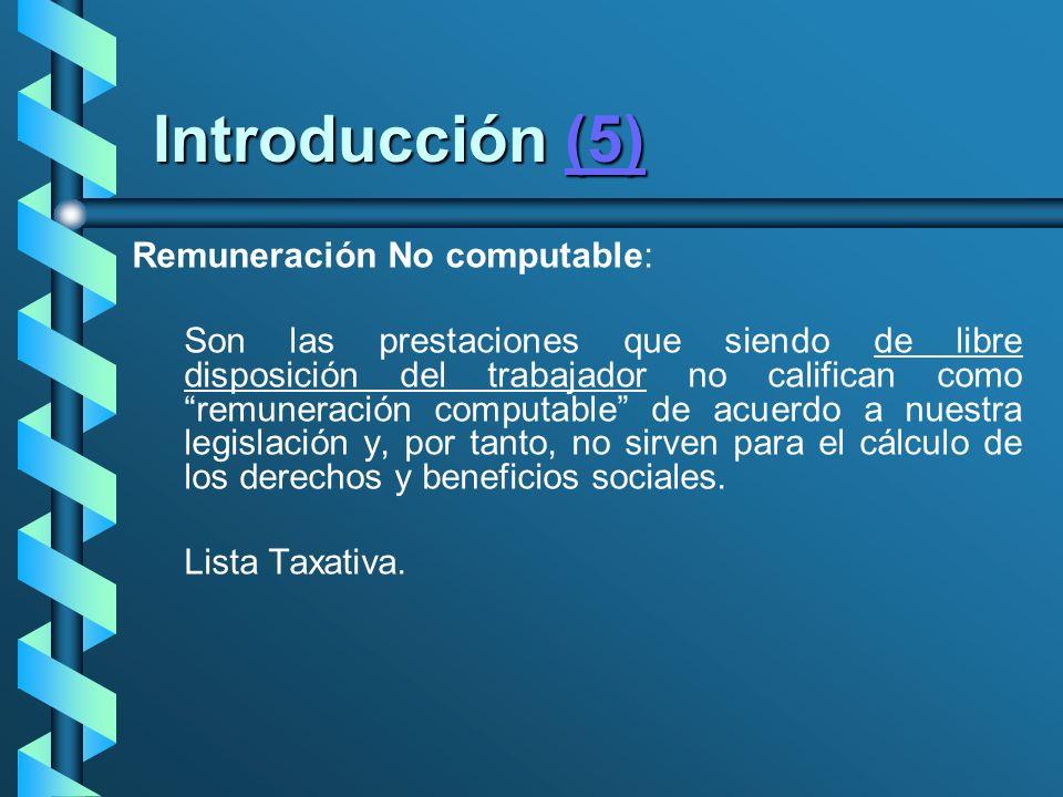 Introducción (5) Remuneración No computable: