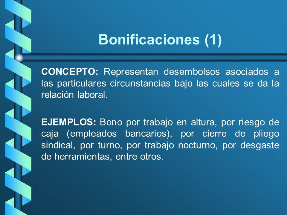 Bonificaciones (1) CONCEPTO: Representan desembolsos asociados a las particulares circunstancias bajo las cuales se da la relación laboral.