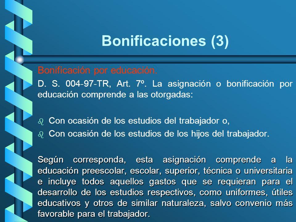 Bonificaciones (3) Bonificación por educación.