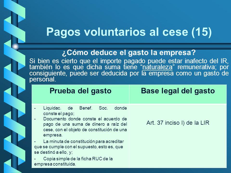 Pagos voluntarios al cese (15)