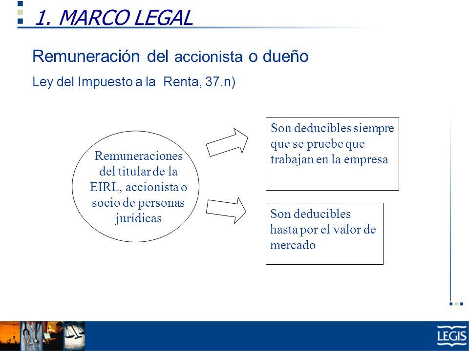 1. MARCO LEGAL Remuneración del accionista o dueño