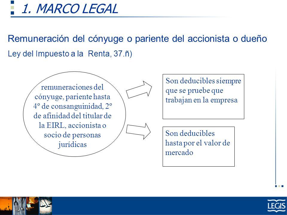 1. MARCO LEGAL Remuneración del cónyuge o pariente del accionista o dueño. Ley del Impuesto a la Renta, 37.ñ)