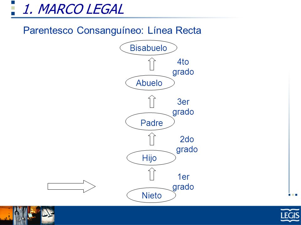 1. MARCO LEGAL Parentesco Consanguíneo: Línea Recta Bisabuelo