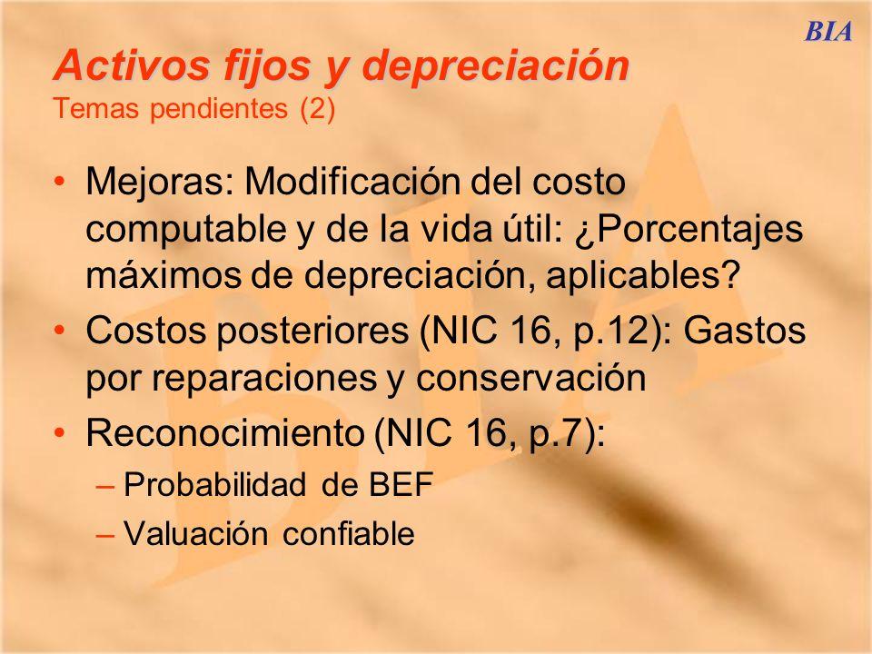 Activos fijos y depreciación Temas pendientes (2)